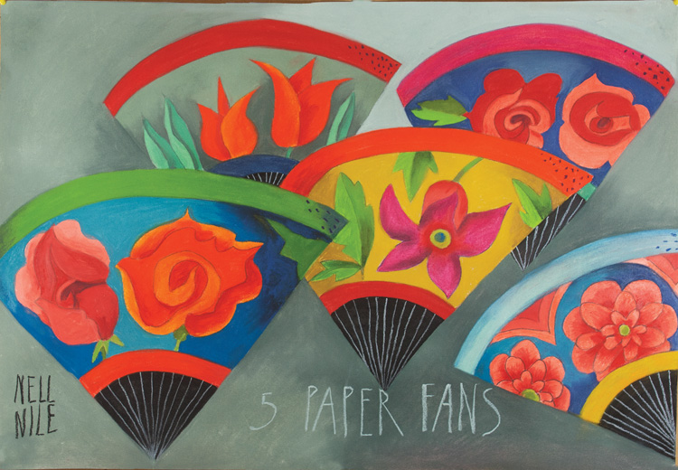 5 Paper Fans by Nell Nile